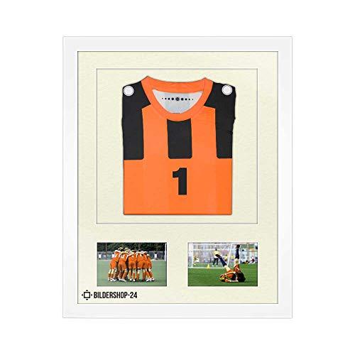 Bilderrahmen Trikotrahmen stabil RahmBig Weiß 50 X 70 cm Rahmen für Trikots, Sport Shirts + Passepartout Elfenbein