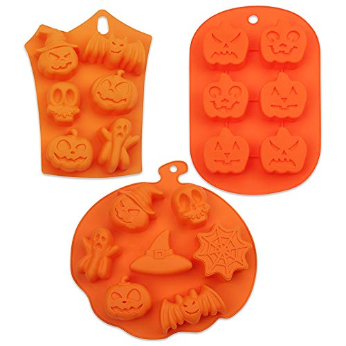 COOKNBAKE Silicone Halloween Mould For Handmade Soap Cookies Chocolate Jelly Pudding Biscuit Moulds 19 Holes With Pumpkin Bat Skull Ghost Shape Set of 3