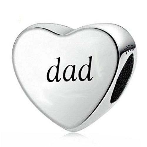 You Raise Me Up Papá Padre de pulseras de plata de ley 925corazón encantos para regalos de hija hijo Navidad Joyería Hombres