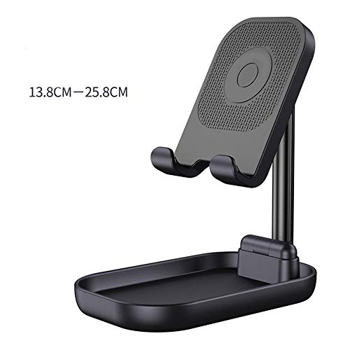 Yinaa Phone Stand Holder Cradle Lazy Bracket For Small Big Phones Soporte para Tableta Non Slip Silicone Aluminum Alloy Collapsible Lifting Black
