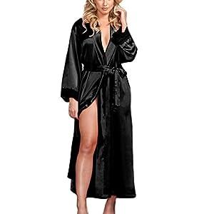 SHOBDW Ropa de Dormir Mujeres Sexy Largo Satinado De Seda Kimono Bata Babydoll Encaje Lencería Conjunto Ligero para Mujer Mantón Traje De Baño Ropa De Dormir Camisón(Negro,One Size)