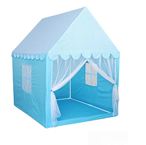 XZGang Children's Tent, de baby het schilderen ruimte Princess Room Color Klamboe Big House met verticale strepen Patroon Nursery Toy Room Ruimte voor kinderen ( Color : Blue , Size : 140*110*145CM )