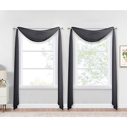 """NICETOWN Black Sheer Villa Scarf Curtain Panels, Simple Voile Sheer Scarf Valances for Your Son & Farther Bedroom, 2 Pieces, 60"""" Length by 144"""" Width"""