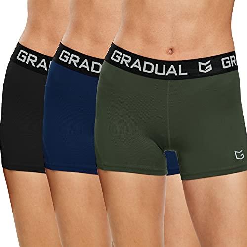 G Gradual Damen Spandex Kompression Volleyball Shorts 7,6 cm/17,8 cm Workout Pro Shorts für Frauen, 3er-Pack: Schwarz/Marineblau/Olivgrün, Mittel