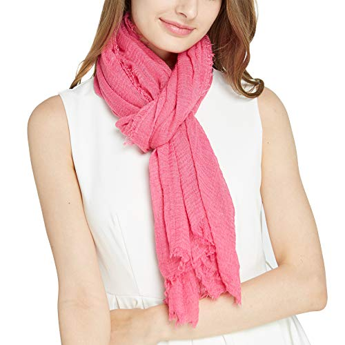 Long Pink Scarf Plain Large Wrap for Women  Pantonight Big Solid Crashed Wrinkle Soft Hair Scarf and Shawl Fashion scarf 201scarf 201