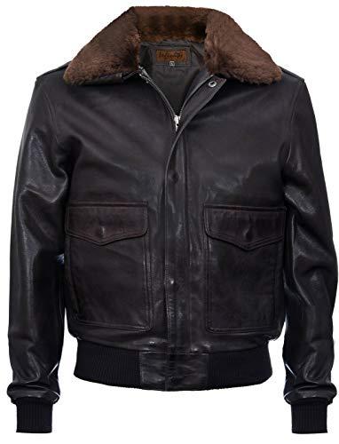 Infinity Leather Uomini A2 Marrone Nappa Bomber Giacca in Pelle con Collo in Montone Staccabile XS