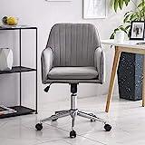 Hironpal Grauer Samt Home Office Stuhl Ergonomischer Schreibtischstuhl Chefsessel Einstellbarer Computerstuhl mit Armlehnen und Rückenstütze Drehstuhl Empfangsstuhl Neigungsstuhl 360° Stuhl