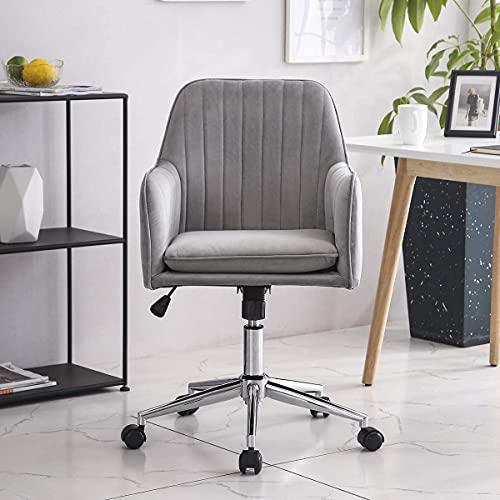 Hironpal Velvet Clear Chair for Home Office, Velvet Executive Desk, Velvet Ergonomic Swivel Chair, with Armrests and Back Support for Reception Home Office Furniture Grey