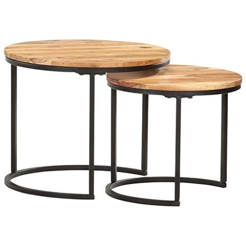 vidaXL 2X Akazienholz Massiv Satztisch Couchtisch Beistelltisch Kaffeetisch Sofatisch Holztisch Tisch Teetisch Massivholztisch Wohnzimmertisch