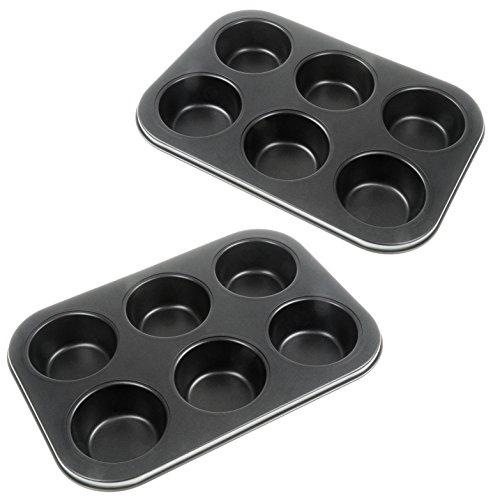 YOUZiNGS 2 moldes para muffins, 6 unidades, con revestimiento antiadherente, para muffins,...