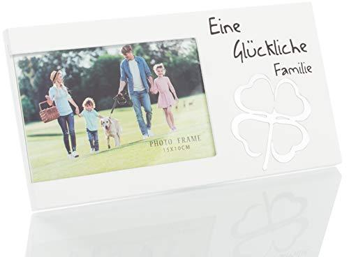 Brandsseller Fotolijst, fotolijst, een gelukkige familie, met spiegel, klavertje, 25 x 13 x 1,5 cm 25 x 13 x 1,2 cm Wit/Een gelukkige familie