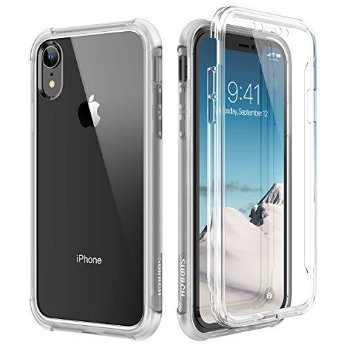 SURITCH Coque iPhone XR 360 Degré Transparente Antichoc Silicone Bumper [Ultra Hybrid] Integrale Anti-Rayures Full Body Protection Etui Housse pour iPhone XR - Blanc Mat