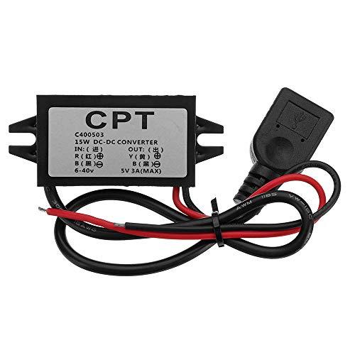 weichuang Elektronisches Zubehör 6–40 V auf USB 5 V/3 A DC männlicher Konverter CPT Auto für RPi/Handy/Navigator/Fahr-Recorder Elektronikteile Elektronisches Zubehör