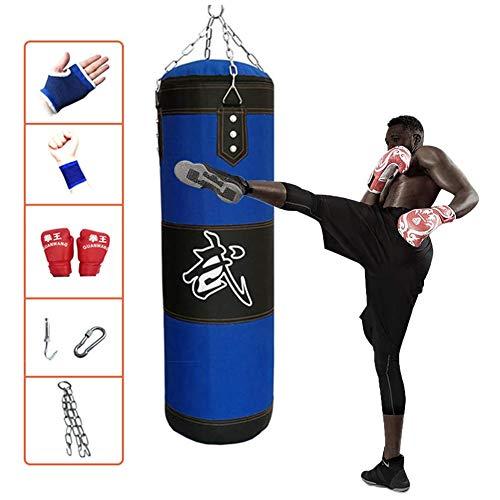 Duurzaam Boxing Bokszak, Heavy Zandzak Opknoping Boxing Punch Tas Met Ketting Voor Volwassen Professionele En Beginners Boxer Training Unfilled,120cm