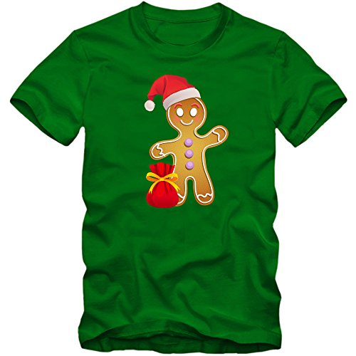 Shirt Happenz Lebkuchenmännchen T-Shirt | Süßes | Weihnachtsmann | Weihnachten |Nikolaus | Frohes Fest | Herrenshirt, Farbe:Hellgrün (Kelly Green L190);Größe:S