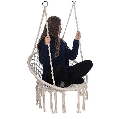 Macrame Swing Hammock Chair Hanging Cotton Rope Swing Swing Chair for Indoor Outdoor Home Patio Deck Yard Garden Girls Room Decor Girls Gift