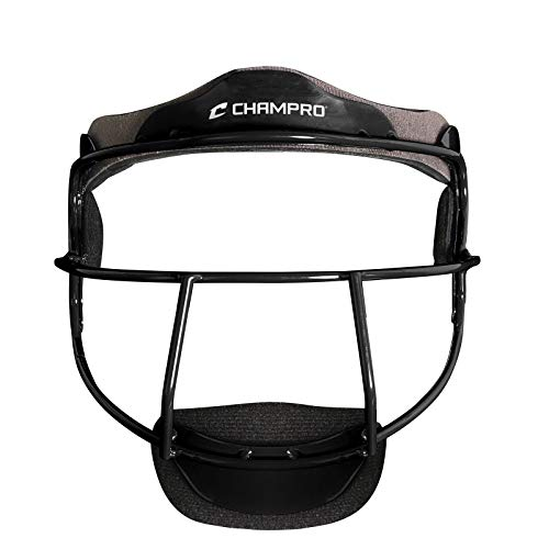 CHAMPRO The Grill Defensive Fielder's Protective Steel Frame Softball Face Mask, BLACK, Youth