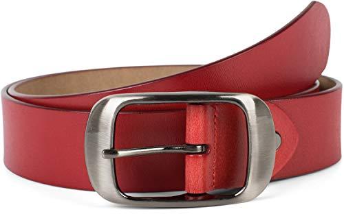 styleBREAKER cinturón de cuero auténtico monocolor con superficie brillante y hebilla grande, acortable, unisex 03010104, tamaño:90cm, color:Vino tinto