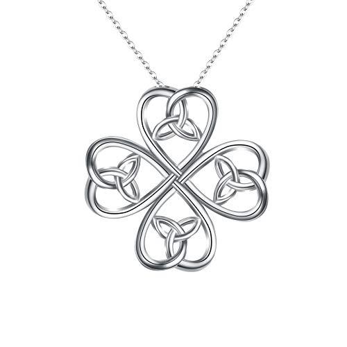 Colar feminino com pingente de trevo de quatro folhas e amor clássico de prata esterlina 925 Ever Faith