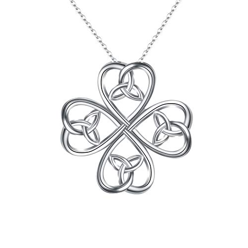 EVER FAITH Women's 925 Sterling Silver Daily Lucky Four Leaf Clover Love Heart Celtic Knot Pendant Necklace