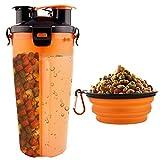 MATT SAGA Botella de Agua para Perros Portatil Envase de Comida para Perros con 2 Plegable Tazones para Perros Gatos Mascotas Adecuado para al Aire Libre Caminar Viajar (Naranja)