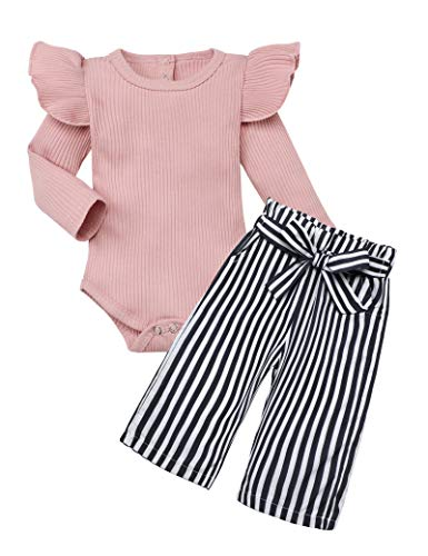 Newborn Baby Girl Clothes Solid Color Romper + Stripe Pants 2PCS Winter Outfit Set 12-18 Months Light Pink