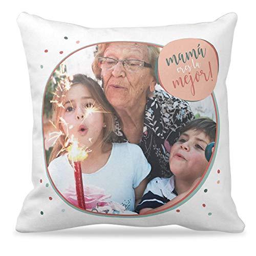 Cojines con tus FOTOS ideales Día de la Madre | Cojín de 40x40 cm incluye Relleno | Varios diseños | Un cojín original para el Día de la Madre o cualquier fecha especial |Frase 'Mamá eres la mejor!'|