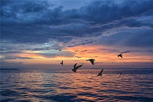 Houten puzzel 1000 stukjes,Mode-ideeënFoto van vogels die boven het water vliegen tijdens het gouden uur De houten puzzel