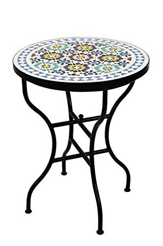 ORIGINAL Marokkanischer Mosaiktisch Bistrotisch ø 60cm Groß rund klappbar | Runder Kleiner Mosaik Gartentisch Mediterran | als Klapptisch für Balkon oder Garten | Albaicin Mehrfarbig Bunt 60cm