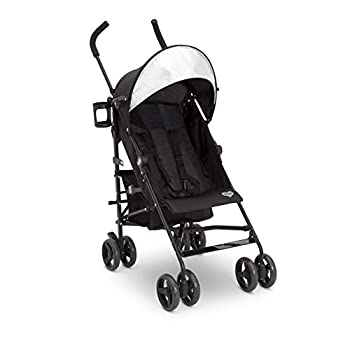 Delta Children Pilot Stroller - Extremely Lightweight Aluminum Travel Stroller with Supportive Recline Oversized Canopy Compact Fold & Shock Absorbing Frame-Includes Cup Holder & Storage Bin Black
