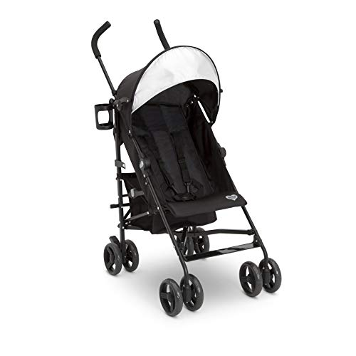Delta Children Pilot Stroller - Extremely Lightweight Aluminum Travel Stroller with Supportive Recline, Oversized Canopy, Compact Fold & Shock Absorbing Frame-Includes Cup Holder & Storage Bin, Black