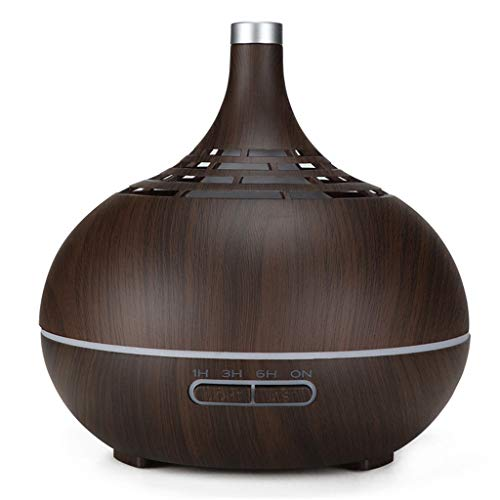 WO Nice Luchtbevochtiger, 400 ml, etherische aroma-diffuser voor mudo-olie met houtnerf, 7 kleuren wisselen, LED-verlichting voor kantoor thuis
