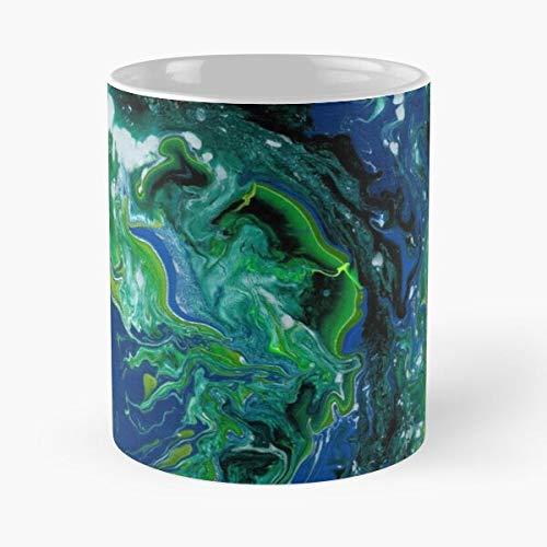 Swirl Blue Acrylic Oil Enamel Silver Green Arctic Eat Food Bite John Best Taza de café de cerámica de 325 ml