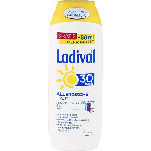 LADIVAL Allergische Haut Sonnenschutz Gel LSF 30 - Parfümfreies Sonnengel für Allergiker - ohne Farb- und Konservierungsstoffe, wasserfest - Vorteilsgröße, 250 ml
