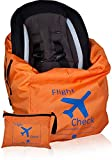 Car Seat Travel Bag and Carrier for Gate Check with Travel Pouch - Bright Orange with Blue Letters for Airport, Airplane Gate Check, Car Trips and Storage Double Backpack Straps | Carseat Bag for STO