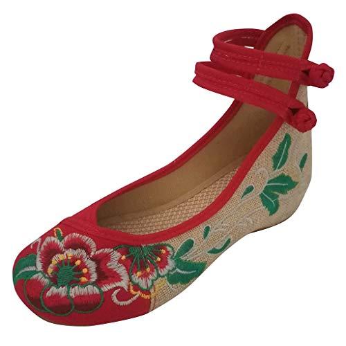 NPRADLA Scarpe da Donna Ricamate alla Moda Alta per Aiutare ad Aumentare la Caviglia Doppia Cinghia Scarpe in Tela, Rosso (Rosso), 36 EU