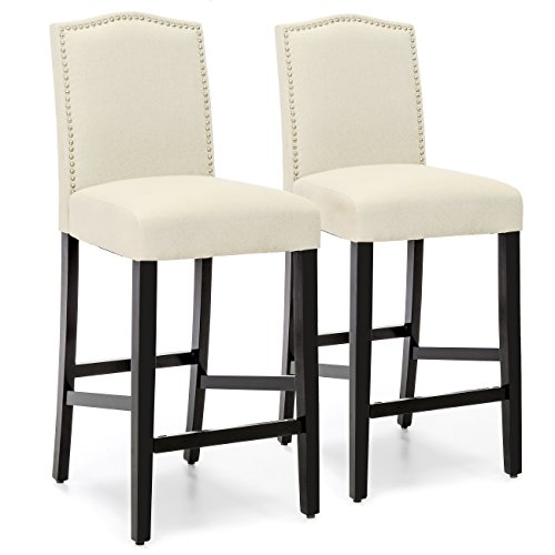 Best Choice Products Set of 2 30in Faux Leather Counter Height Armless Bar Stool Chairs w/Studded Trim Back - Ivory
