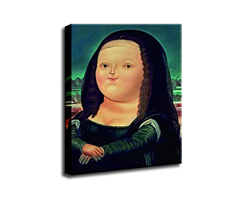 Home Decor Print Oil Painting on Canvas Wall Art, Cute Fat Mona Lisa Painting (24x32inch(Unframed))
