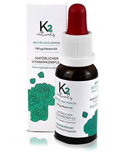 K2 Diagnostic Vitamin K2 Tropfen hochdosiert K2 MK7 100µg - Doppelte Vitamin Menge - MCT-Öl aus Kokos 99,7% All-Trans Gehalt von KappaBio, laborgeprüft LaVes, Deutschland (20ml flüssig)