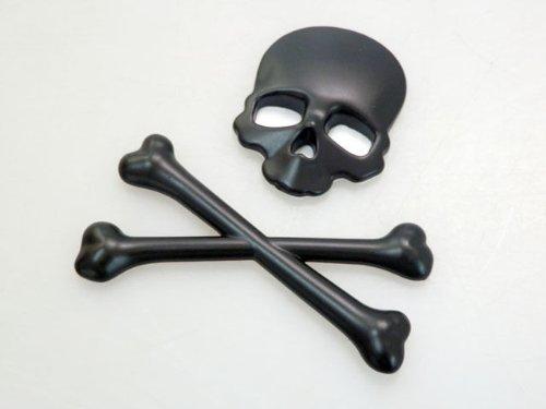 TINYPONY Black Motorcycle Skull Bone Emblem Metal Decal 3D Sticker for Suzuki Kawasaki Harley Yamaha Honda