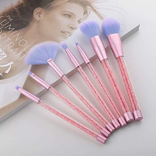 Pink 7 Pcs Unicorn Glitter Makeup Brushes Set Diamond Crystal Handle Powder Foundation Eyebrow Eyeliner Face Makeup Brush Set
