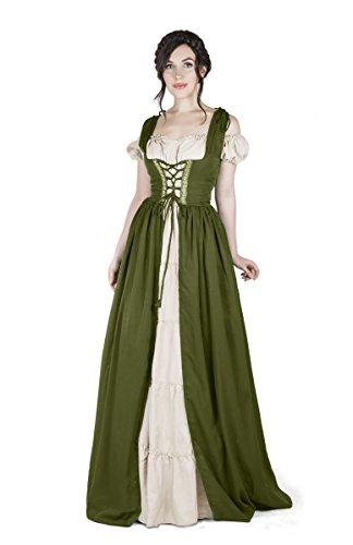 Boho Set Medieval Irish Costume Chemise and Over Dress (S/M, Olive Green)