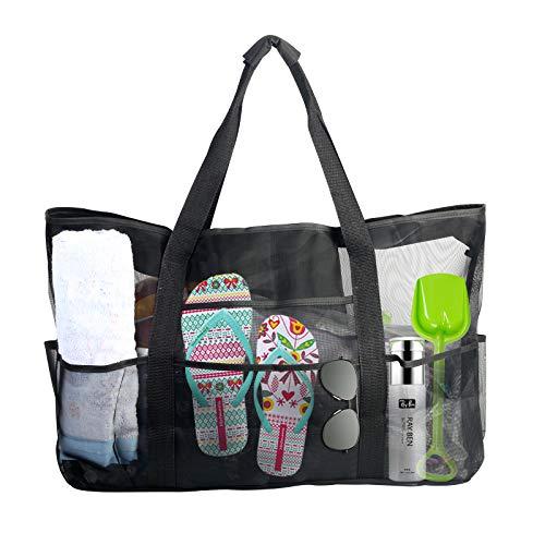 ZERHOK Badetasche groß Familie Strandtasche mit reißverschluss Aufbewahrungstasche Sandspielzeug Feineres Netztasche XXL Reisetasche für Urlaub Strand Reise Schwimmen (Schwarz)