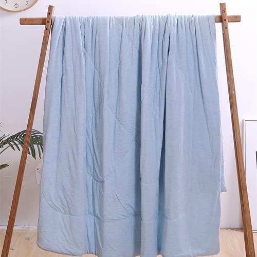 TAIZONG La Nueva Colcha Fresca De Verano De Fibra De Bambú Hilada En Color, Colcha Fina Lavable A Máquina Colcha De Belleza con Ácido Hialurónico Azul 200*230cm