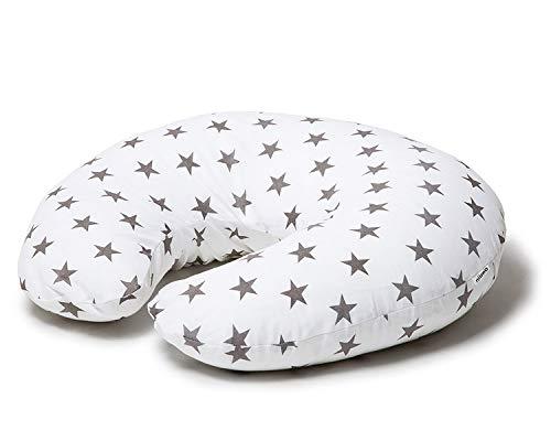 Niimo Cojin Lactancia Bebè Funda Cojin 100% Algodòn Extraíble y Lavable Almohada Multifuncional para Madre y Bebé Relleno de Fibra de Poliéster (Blanco - Estrella Gris)