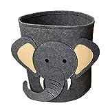 Dibujos animados animal fieltro de almacenamiento Cubo de almacenamiento sucio ropa de juguete Cubo de almacenamiento Redondo Lion Bucket Tiburón Patrón de elefante ( Color : E , Size : 34x37cm )
