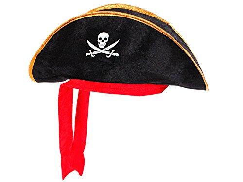 Alsino Dreispitz Piraten Hut mit rotem Band & Totenkopf Emblem (Ph-03) - Farbe: schwarz Gold, One Size Größe für Erwachsene