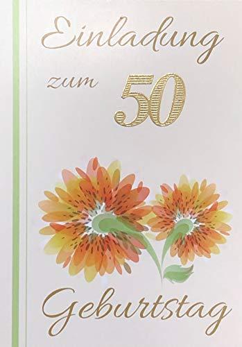 Uitnodigingskaarten 50e verjaardag vrouw man met binnentekst motief oranje bloemen 10 vouwkaarten DIN A6 staand met witte enveloppen in set verjaardagskaarten uitnodiging 50 verjaardag man vrouw K159