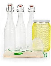 myFERMENTS Kit Elaboración Bebidas Probioticas – Kombucha, Kefir, Cerveza – Contiene Tarro Grande de Cristal (2l) , 3 Botellas de Cristal con Cierre Hermético 750 ml, Embudo y Muselina.