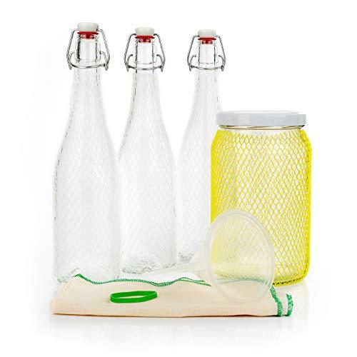 myFERMENTS Kit Préparation Boissons Probiotiques - Set de Fermentation pour Bière, Kefir - Grands Bocaux en Verre de 2L, 3 Bouteille de 750ml avec Joint Hermétique, Entonnoir 10cm, Tissu Mousseline